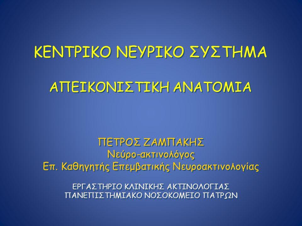 ΚΕΝΤΡΙΚΟ ΝΕΥΡΙΚΟ ΣΥΣΤΗΜΑ ΑΠΕΙΚΟΝΙΣΤΙΚΗ ΑΝΑΤΟΜΙΑ ΠΕΤΡΟΣ ΖΑΜΠΑΚΗΣ Νεύρο-ακτινολόγος Επ. Καθηγητής Επεμβατικής Νευροακτινολογίας ΕΡΓΑΣΤΗΡΙΟ ΚΛΙΝΙΚΗΣ ΑΚΤΙ