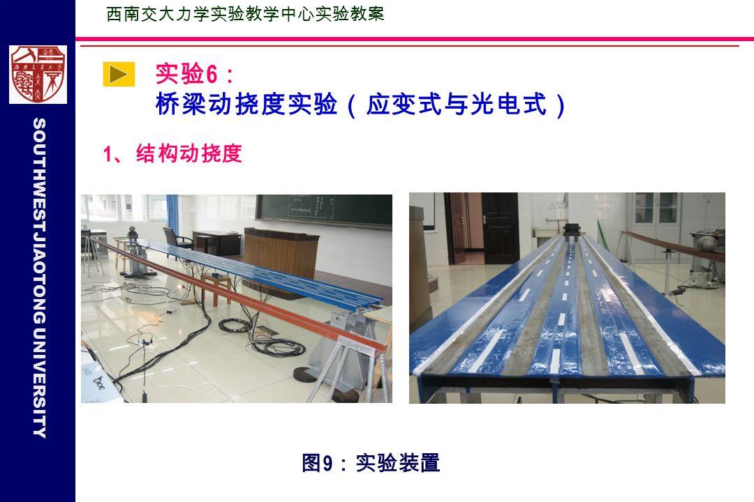 SOUTHWESTJIAOTONG UNIVERSITY 实验 6 : 桥梁动挠度实验(应变式与光电式) 1 、结构动挠度 图 9 :实验装置 西南交大力学实验教学中心实验教案