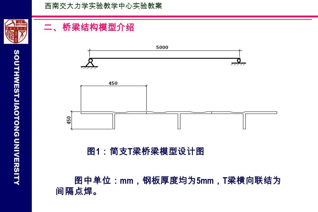SOUTHWESTJIAOTONG UNIVERSITY 西南交大力学实验教学中心实验教案 二、桥梁结构模型介绍 图中单位: mm ,钢板厚度均为 5mm , T 梁横向联结为 间隔点焊。 图 1 :简支 T 梁桥梁模型设计图