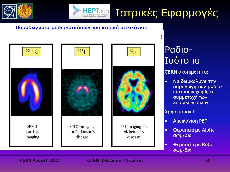 Ραδιο- Ισότοπα CERN σκοπιμότητα: Να διευκολύνει την παραγωγή των ραδιο- ισοτόπων χωρίς τη συμμετοχή των επορικών οίκων Χρησιμοποιεί: Απεικόνιση PET Θεραπεία με Alpha σωμ/δια Θεραπεία με Beta σωμ/δια 19 Ιατρικές Εφαρμογές Παραδείγματα ραδιο-ισοτόπων για ιατρική απεικόνιση CERN August 2015CERN Education Program
