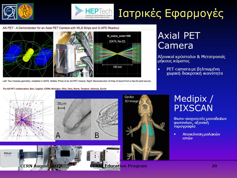 Axial PET Camera Αξονικοί κρύσταλοι & Μετατροπείς μήκους κύματος PET camera με βελτιωμένη χωρική διακριτική ικανότητα 20 Medipix / PIXSCAN Φωτο-ανιχνευτές μοναδιαίων φωτονίων, αξονική τομογραφία Απεικόνιση μαλακών ιστών Ιατρικές Εφαρμογές CERN August 2015CERN Education Program