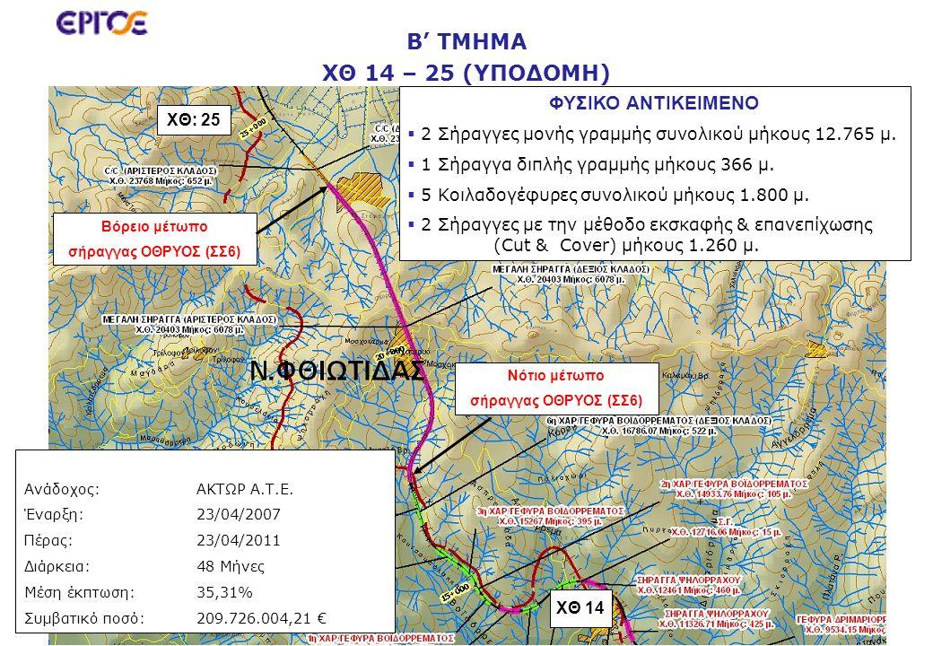 Β' ΤΜΗΜΑ ΧΘ 14 – 25 (ΥΠΟΔΟΜΗ) ΧΘ: 25 ΧΘ 14 ΦΥΣΙΚΟ ΑΝΤΙΚΕΙΜΕΝΟ   2 Σήραγγες μονής γραμμής συνολικού μήκους 12.765 μ.   1 Σήραγγα διπλής γραμμής μήκ