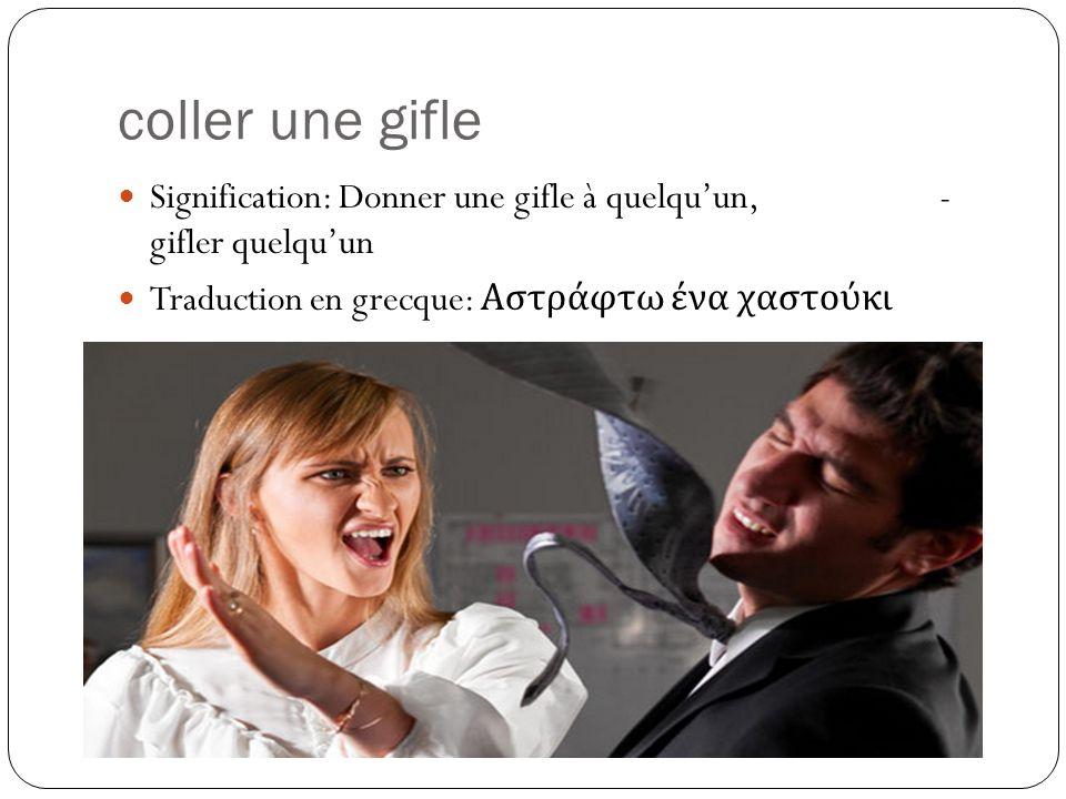 coller une gifle Signification: Donner une gifle à quelqu'un, - gifler quelqu'un Traduction en grecque: Αστράφτω ένα χαστούκι