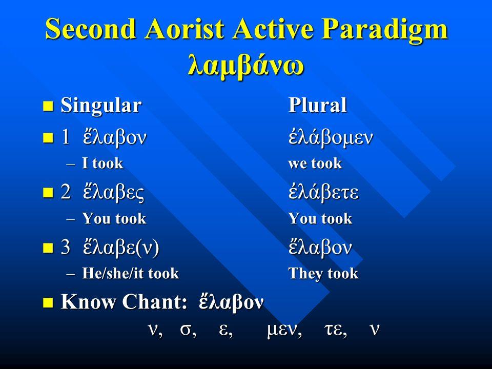 Second Aorist Active Paradigm λαμβάνω Singular Plural Singular Plural 1 ἔ λαβον ἐ λάβομεν 1 ἔ λαβον ἐ λάβομεν –I took we took 2 ἔ λαβες ἐ λάβετε 2 ἔ λ