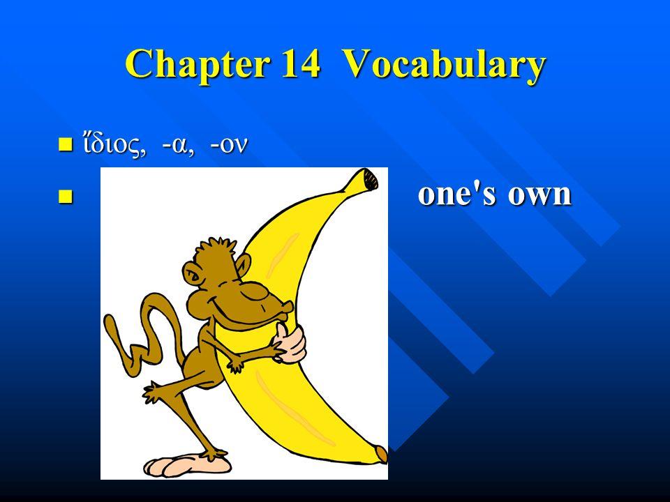 Chapter 14 Vocabulary ἴ διος, -α, -ον ἴ διος, -α, -ον one's own one's own