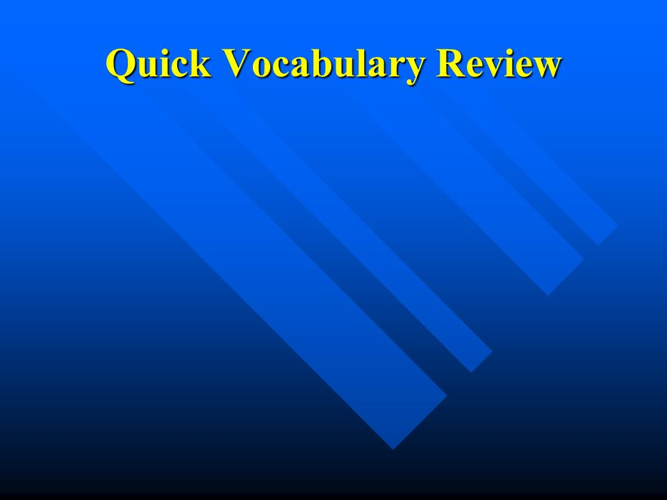 Quick Vocabulary Review
