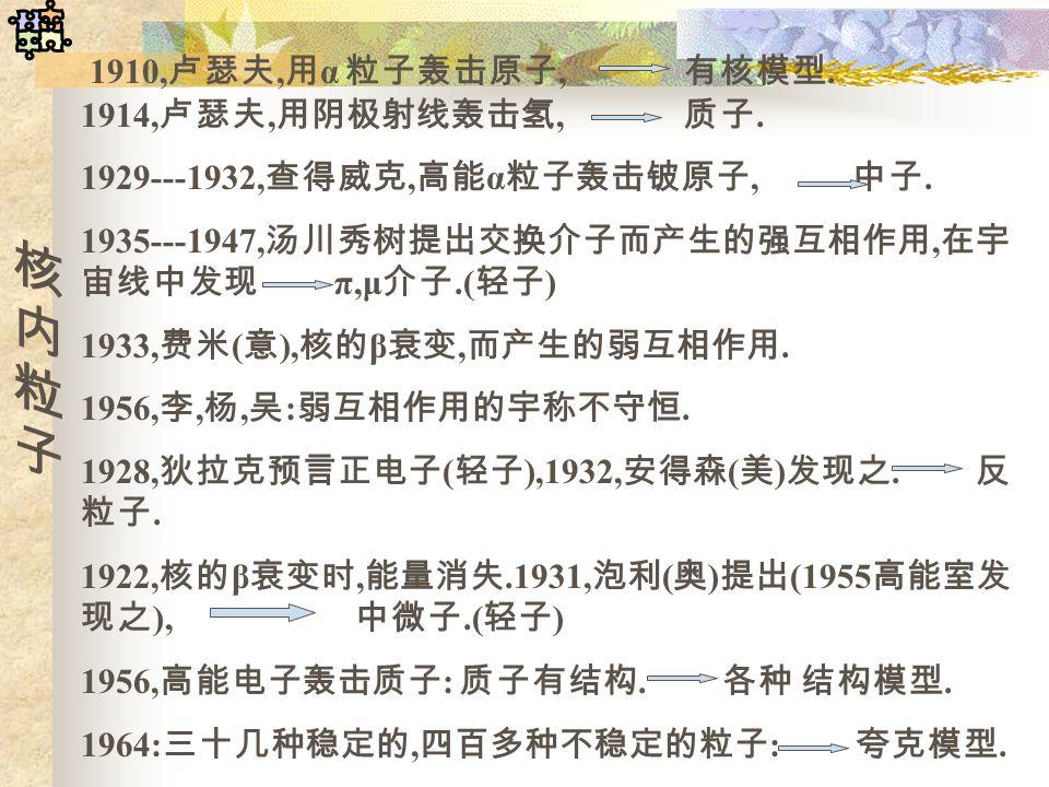 1910, 卢瑟夫, 用 α 粒子轰击原子, 有核模型. 1914, 卢瑟夫, 用阴极射线轰击氢, 质子. 1929---1932, 查得威克, 高能 α 粒子轰击铍原子, 中子. 1935---1947, 汤川秀树提出交换介子而产生的强互相作用, 在宇 宙线中发现 π,μ 介子.( 轻子 ) 19