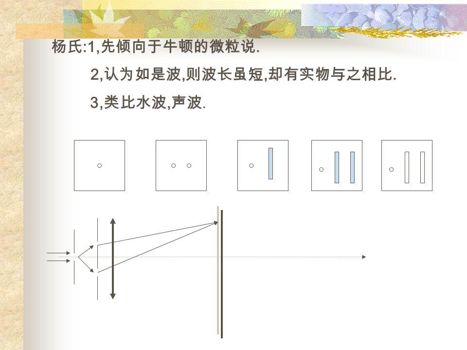 杨氏 :1, 先倾向于牛顿的微粒说. 2, 认为如是波, 则波长虽短, 却有实物与之相比. 3, 类比水波, 声波.