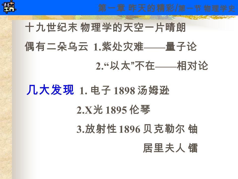 """十九世纪末 物理学的天空一片晴朗 偶有二朵乌云 1. 紫处灾难 —— 量子论 2."""" 以太 """" 不在 —— 相对论 几大发现 1. 电子 1898 汤姆逊 2.X 光 1895 伦琴 3. 放射性 1896 贝克勒尔 铀 居里夫人 镭 第一章 昨天的精彩 / 第一节 物理学史"""