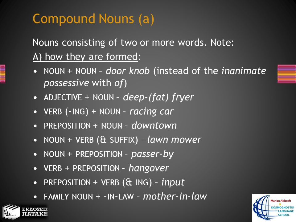 Compound Nouns (a) Nouns consisting of two or more words.
