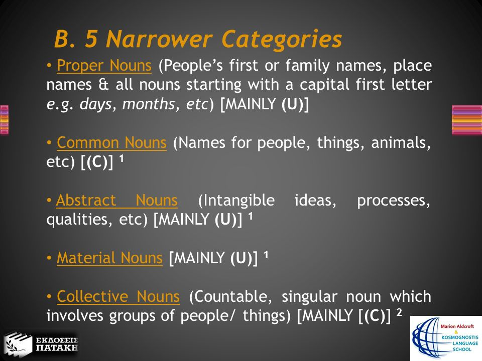 B. 5 Narrower Categories Proper Nouns (People's first or family names, place names & all nouns starting with a capital first letter e.g. days, months,