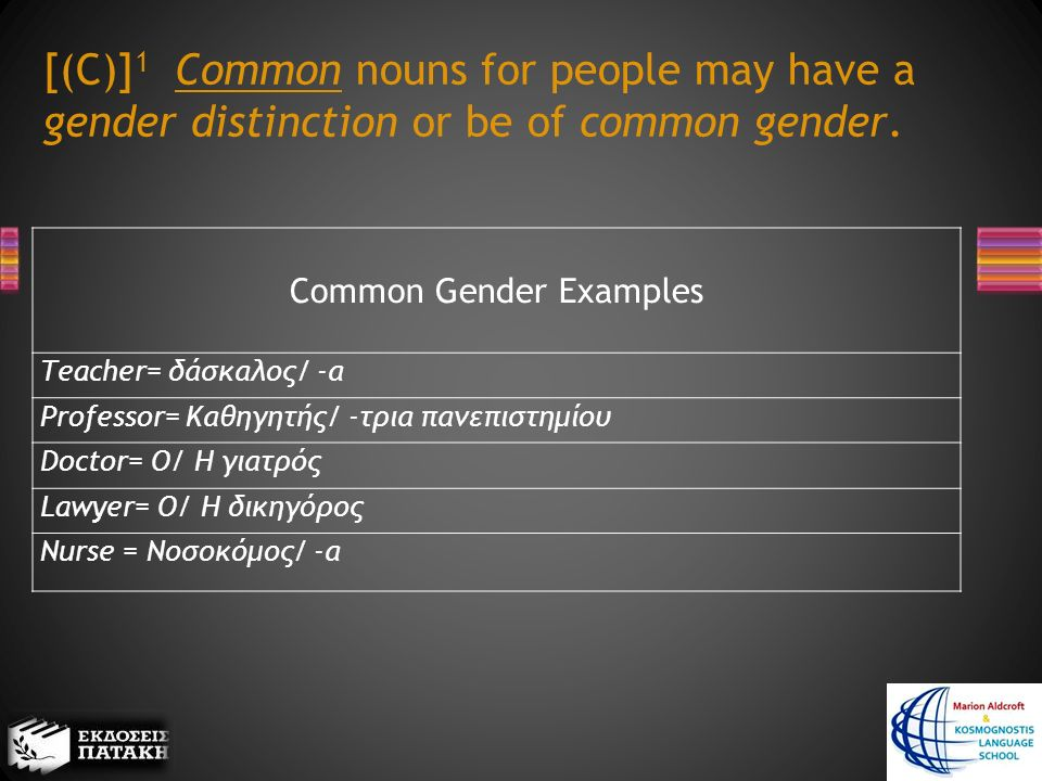 [(C)] 1 Common nouns for people may have a gender distinction or be of common gender.