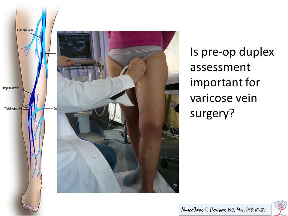 Νικόλαος Ι. Ρούσας MD, Msc, PhD (IT-GR) Is pre-op duplex assessment important for varicose vein surgery?