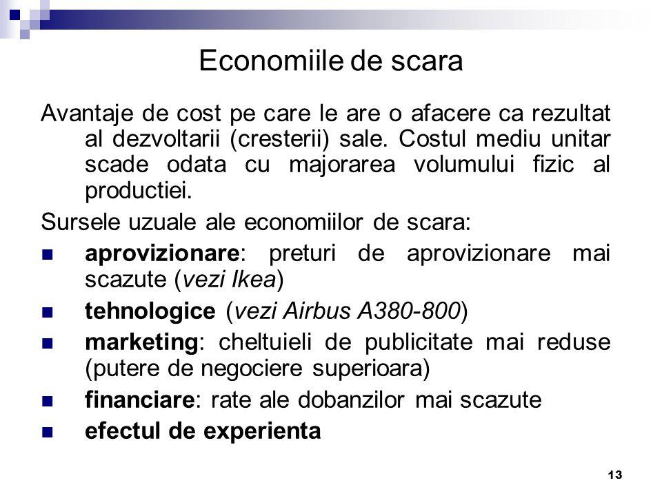 13 Economiile de scara Avantaje de cost pe care le are o afacere ca rezultat al dezvoltarii (cresterii) sale. Costul mediu unitar scade odata cu major