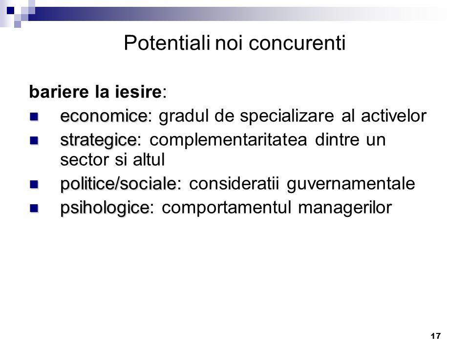 17 bariere la iesire: economice economice: gradul de specializare al activelor strategice strategice: complementaritatea dintre un sector si altul pol
