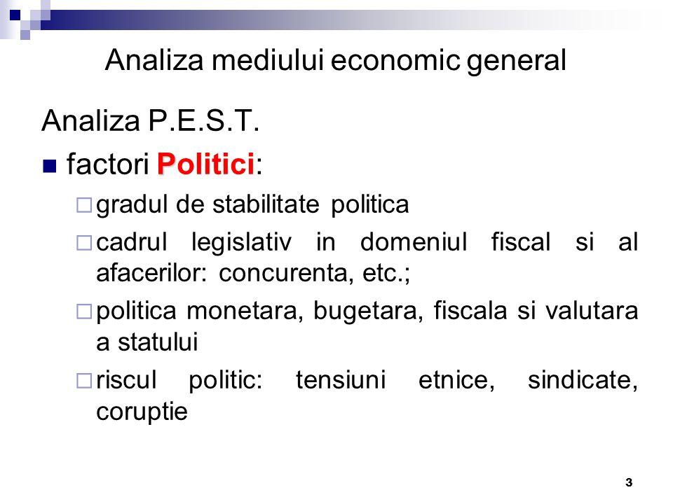 3 Analiza P.E.S.T. P factori Politici:  gradul de stabilitate politica  cadrul legislativ in domeniul fiscal si al afacerilor: concurenta, etc.;  p