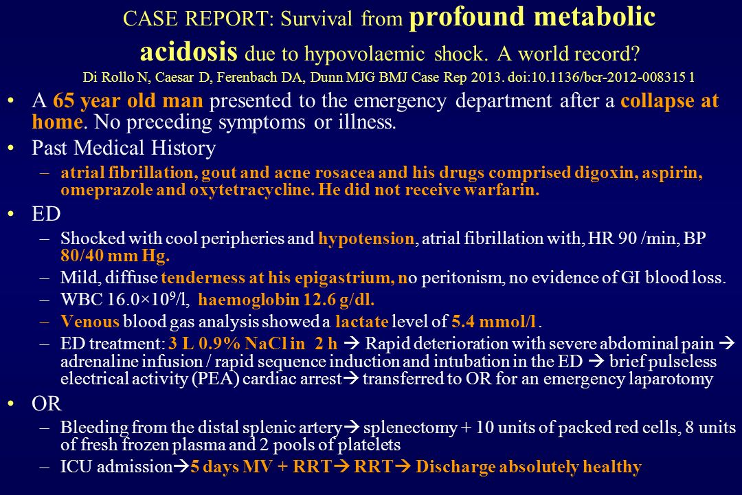 CASE REPORT: Survival from profound metabolic acidosis due to hypovolaemic shock. A world record? Di Rollo N, Caesar D, Ferenbach DA, Dunn MJG BMJ Cas