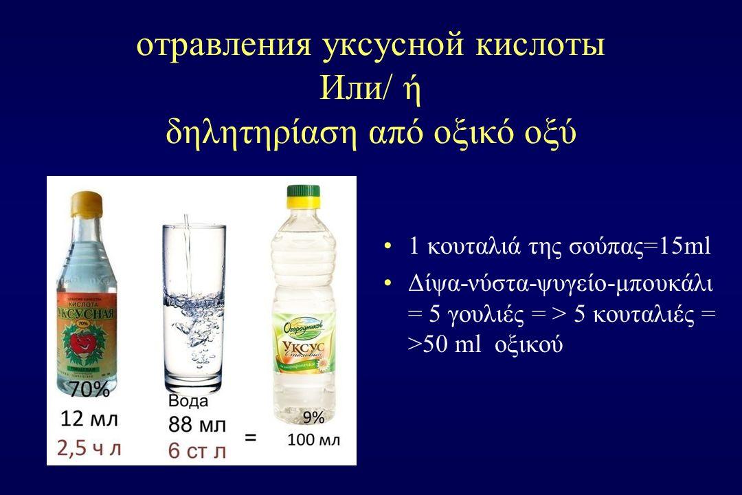 отравления уксусной кислоты Или/ ή δηλητηρίαση από οξικό οξύ 1 κουταλιά της σούπας=15ml Δίψα-νύστα-ψυγείο-μπουκάλι = 5 γουλιές = > 5 κουταλιές = >50 m