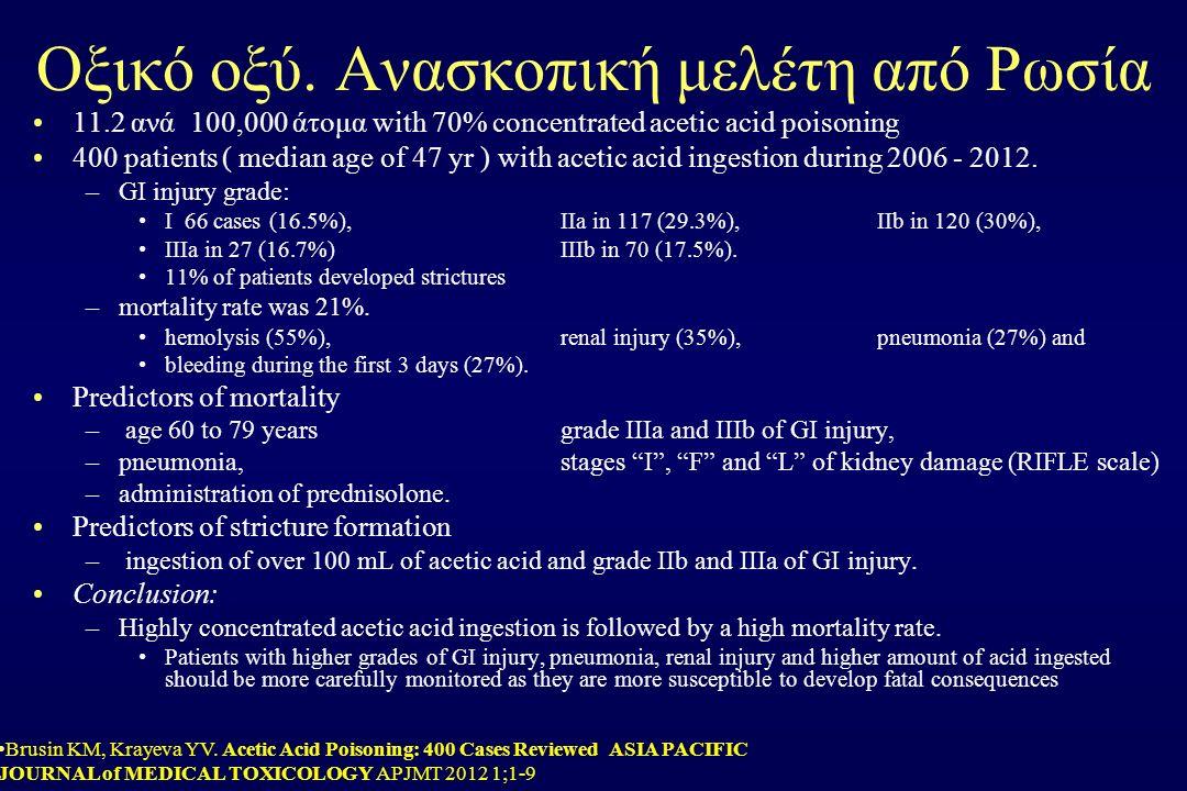 Οξικό οξύ. Ανασκοπική μελέτη από Ρωσία 11.2 ανά 100,000 άτομα with 70% concentrated acetic acid poisoning 400 patients ( median age of 47 yr ) with ac