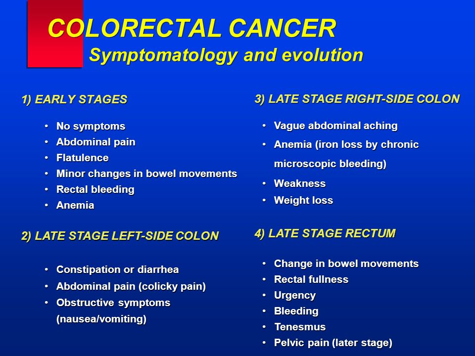 COLORECTAL CANCER Symptomatology and evolution 1) EARLY STAGES No symptomsNo symptoms Abdominal painAbdominal pain FlatulenceFlatulence Minor changes