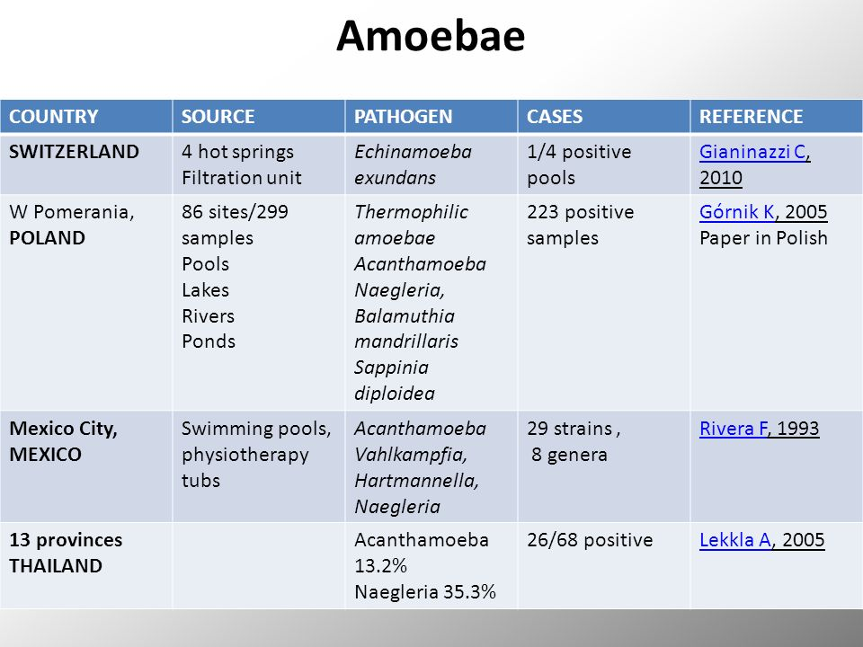 Amoebae COUNTRYSOURCEPATHOGENCASESREFERENCE SWITZERLAND4 hot springs Filtration unit Echinamoeba exundans 1/4 positive pools Gianinazzi CGianinazzi C, 2010 W Pomerania, POLAND 86 sites/299 samples Pools Lakes Rivers Ponds Thermophilic amoebae Acanthamoeba Naegleria, Balamuthia mandrillaris Sappinia diploidea 223 positive samples Górnik KGórnik K, 2005 Paper in Polish Mexico City, MEXICO Swimming pools, physiotherapy tubs Acanthamoeba Vahlkampfia, Hartmannella, Naegleria 29 strains, 8 genera Rivera FRivera F, 1993 13 provinces THAILAND Acanthamoeba 13.2% Naegleria 35.3% 26/68 positiveLekkla ALekkla A, 2005