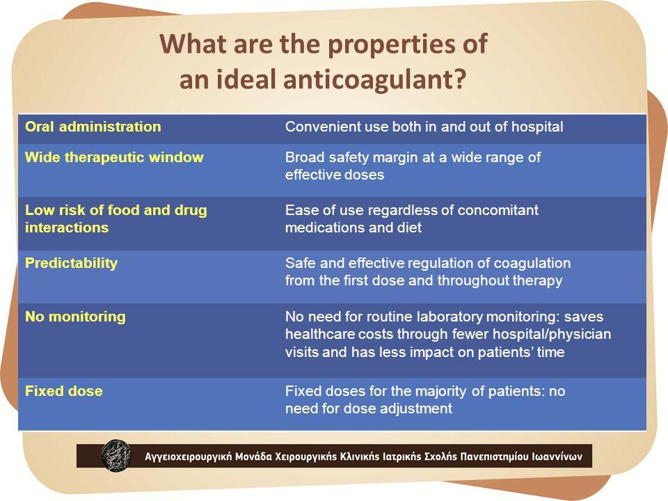 Commonly used anticoagulants in VTE Prevention and Treatment  Parenteral anticoagulants  Unfractionated heparin  Low molecular weight heparins  Indirect Factor Xa inhibitor (fondaparinux)  Oral anticoagulants  Vitamin K antagonists
