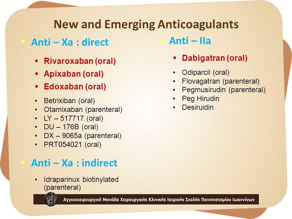 New and Emerging Anticoagulants  Anti – Xa : direct  Rivaroxaban (oral)  Apixaban (oral)  Edoxaban (oral) Betrixiban (oral) Otamixaban (parenteral) LY – 517717 (oral) DU – 176B (oral) DX – 9065a (parenteral) PRT054021 (oral)  Anti – Xa : indirect Idraparinux biotinylated (parenteral)  Anti – IIa  Dabigatran (oral) Odiparcil (oral) Flovagatran (parenteral) Pegmusirudin (parenteral) Peg Hirudin Desiruidin