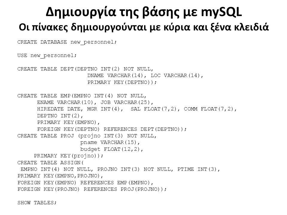 Δημιουργία της βάσης με mySQL Οι πίνακες δημιουργούνται με κύρια και ξένα κλειδιά CREATE DATABASE new_personnel; USE new_personnel; CREATE TABLE DEPT(DEPTNO INT(2) NOT NULL, DNAME VARCHAR(14), LOC VARCHAR(14), PRIMARY KEY(DEPTNO)); CREATE TABLE EMP(EMPNO INT(4) NOT NULL, ENAME VARCHAR(10), JOB VARCHAR(25), HIREDATE DATE, MGR INT(4), SAL FLOAT(7,2), COMM FLOAT(7,2), DEPTNO INT(2), PRIMARY KEY(EMPNO), FOREIGN KEY(DEPTNO) REFERENCES DEPT(DEPTNO)); CREATE TABLE PROJ (projno INT(3) NOT NULL, pname VARCHAR(15), budget FLOAT(12,2), PRIMARY KEY(projno)); CREATE TABLE ASSIGN( EMPNO INT(4) NOT NULL, PROJNO INT(3) NOT NULL, PTIME INT(3), PRIMARY KEY(EMPNO,PROJNO), FOREIGN KEY(EMPNO) REFERENCES EMP(EMPNO), FOREIGN KEY(PROJNO) REFERENCES PROJ(PROJNO)); SHOW TABLES;
