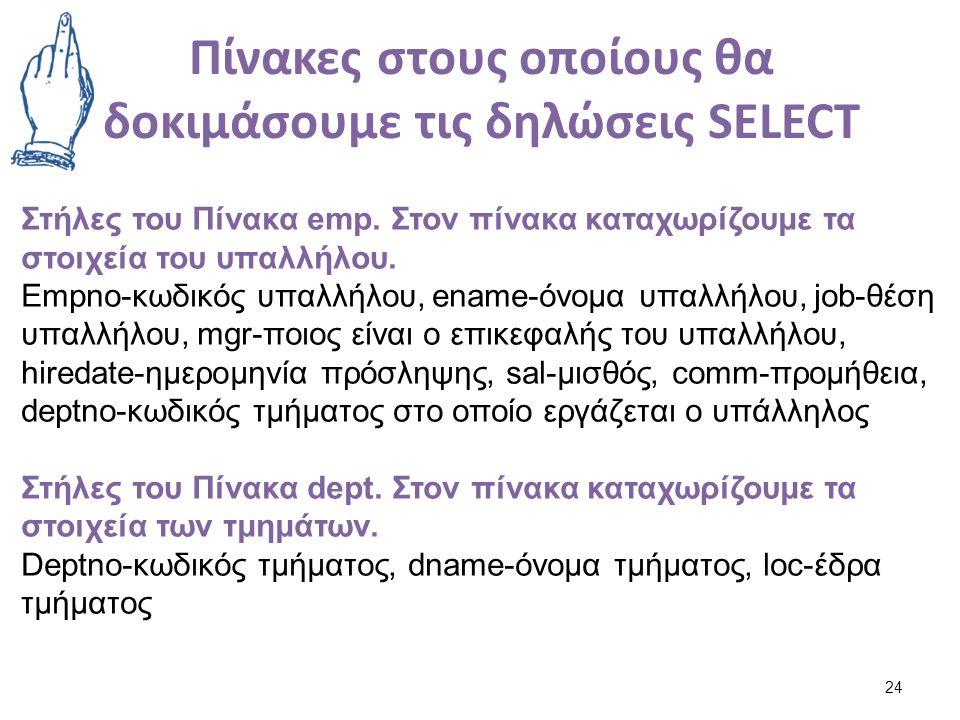 Πίνακες στους οποίους θα δοκιμάσουμε τις δηλώσεις SELECT 24 Στήλες του Πίνακα emp.