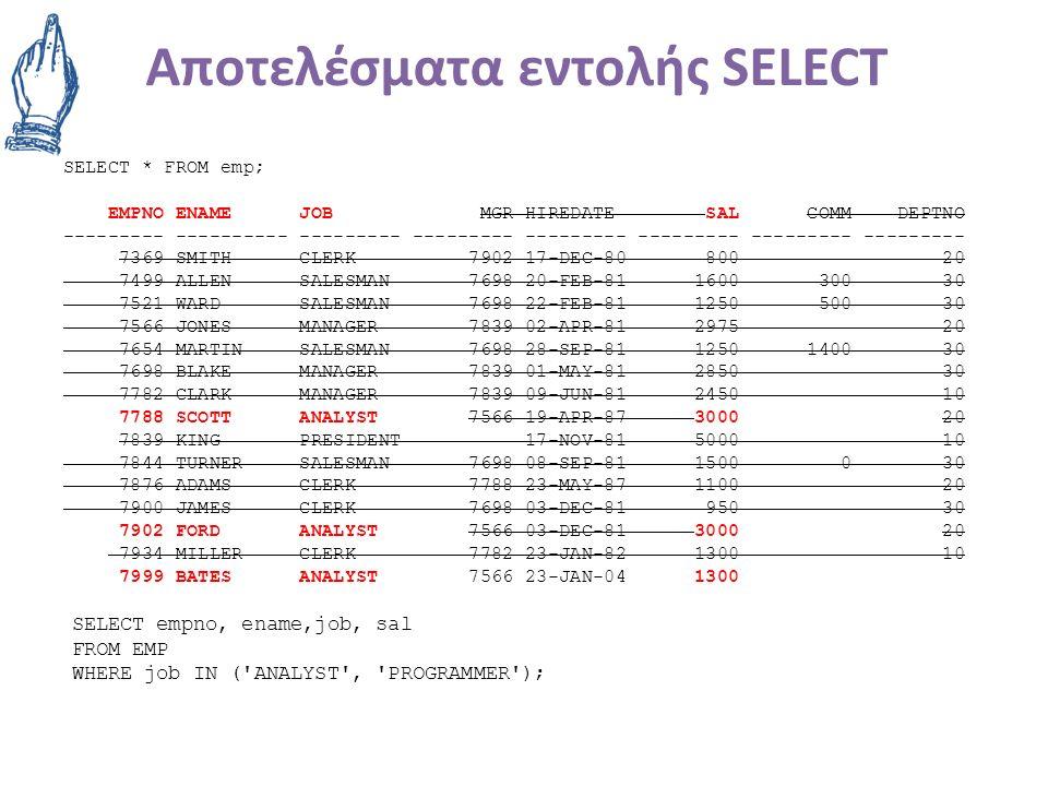 Αποτελέσματα εντολής SELECT SELECT * FROM emp; EMPNO ENAME JOB MGR HIREDATE SAL COMM DEPTNO --------- ---------- --------- --------- --------- --------- --------- --------- 7369 SMITH CLERK 7902 17-DEC-80 800 20 7499 ALLEN SALESMAN 7698 20-FEB-81 1600 300 30 7521 WARD SALESMAN 7698 22-FEB-81 1250 500 30 7566 JONES MANAGER 7839 02-APR-81 2975 20 7654 MARTIN SALESMAN 7698 28-SEP-81 1250 1400 30 7698 BLAKE MANAGER 7839 01-MAY-81 2850 30 7782 CLARK MANAGER 7839 09-JUN-81 2450 10 7788 SCOTT ANALYST 7566 19-APR-87 3000 20 7839 KING PRESIDENT 17-NOV-81 5000 10 7844 TURNER SALESMAN 7698 08-SEP-81 1500 0 30 7876 ADAMS CLERK 7788 23-MAY-87 1100 20 7900 JAMES CLERK 7698 03-DEC-81 950 30 7902 FORD ANALYST 7566 03-DEC-81 3000 20 7934 MILLER CLERK 7782 23-JAN-82 1300 10 7999 BATES ANALYST 7566 23-JAN-04 1300 SELECT empno, ename,job, sal FROM EMP WHERE job IN ( ANALYST , PROGRAMMER );