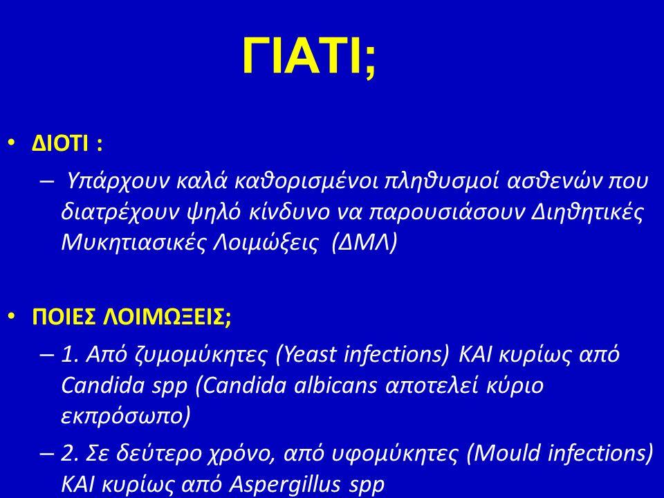 ΔΙΟΤΙ : – Υπάρχουν καλά καθορισμένοι πληθυσμοί ασθενών που διατρέχουν ψηλό κίνδυνο να παρουσιάσουν Διηθητικές Μυκητιασικές Λοιμώξεις (ΔΜΛ) ΠΟΙΕΣ ΛΟΙΜΩ