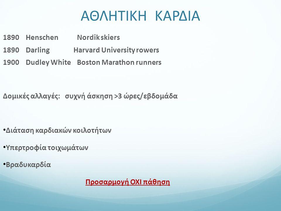 1890 Henschen Nordik skiers 1890 Darling Harvard University rowers 1900 Dudley White Boston Marathon runners Δομικές αλλαγές: συχνή άσκηση >3 ώρες/εβδ