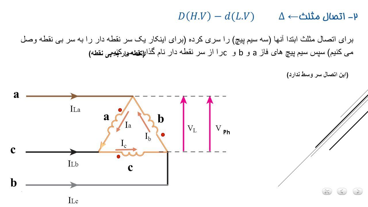 2) اتصال ستاره مثلث - V L1 V ph1 + V L2 _ V ph2