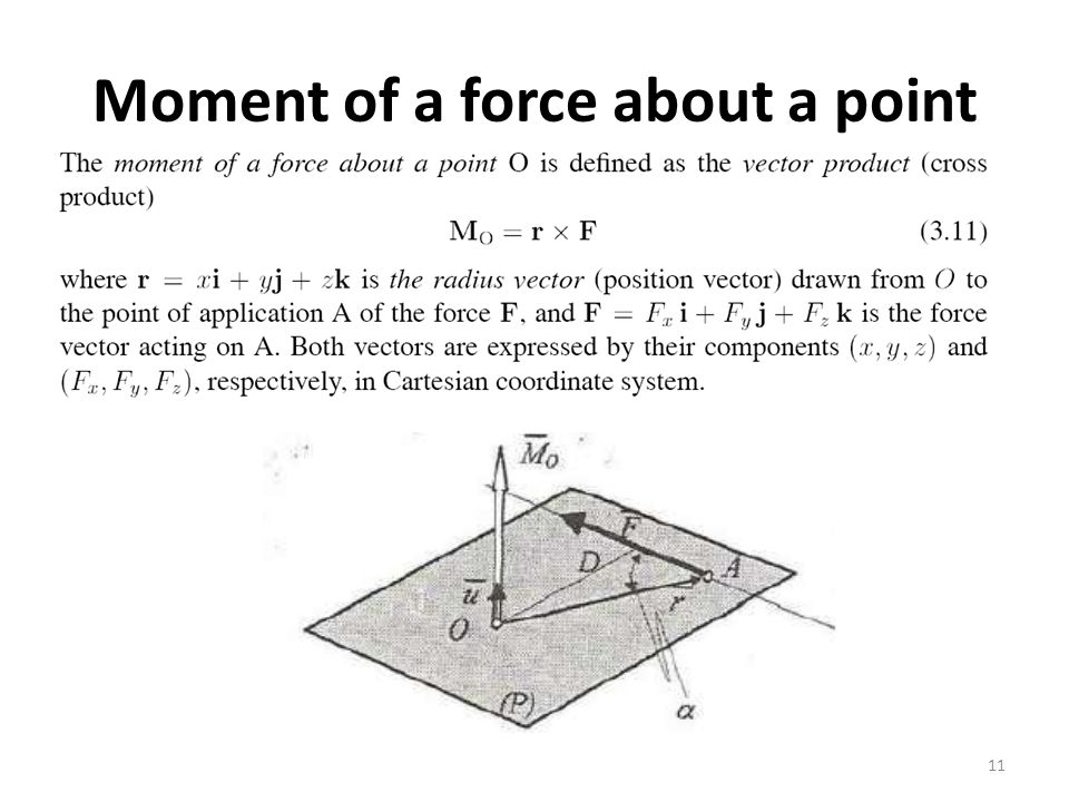 Moment of a force about a point 11