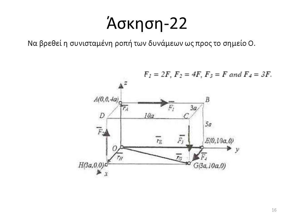 Άσκηση-22 Να βρεθεί η συνισταμένη ροπή των δυνάμεων ως προς το σημείο Ο. 16