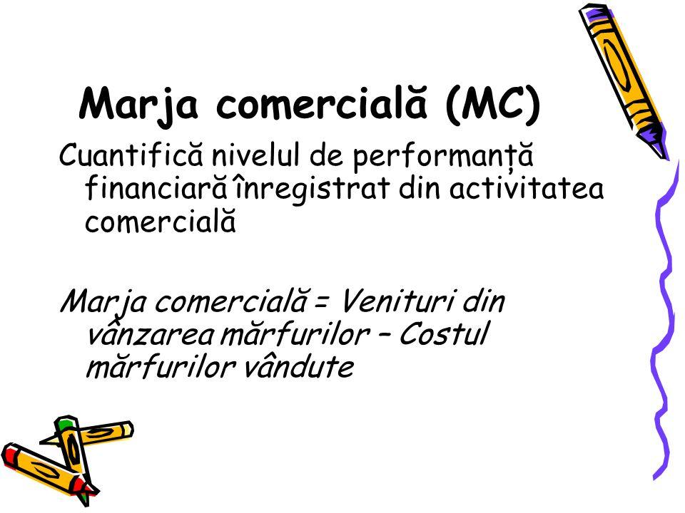 Marja comercială (MC) Cuantifică nivelul de performanţă financiară înregistrat din activitatea comercială Marja comercială = Venituri din vânzarea mărfurilor – Costul mărfurilor vândute