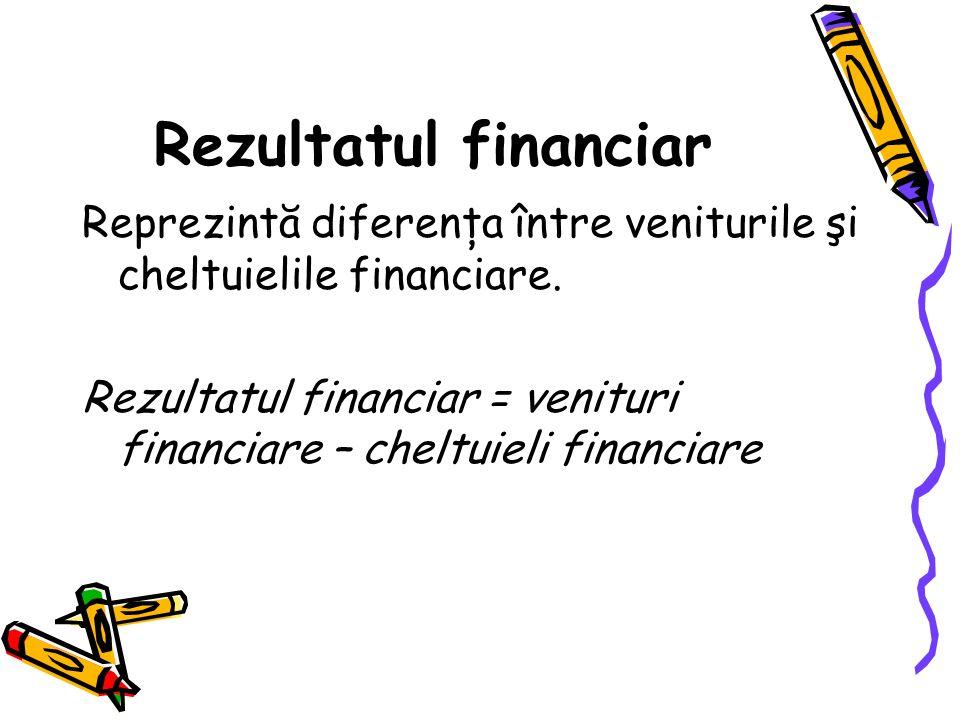 Rezultatul financiar Reprezintă diferenţa între veniturile şi cheltuielile financiare.