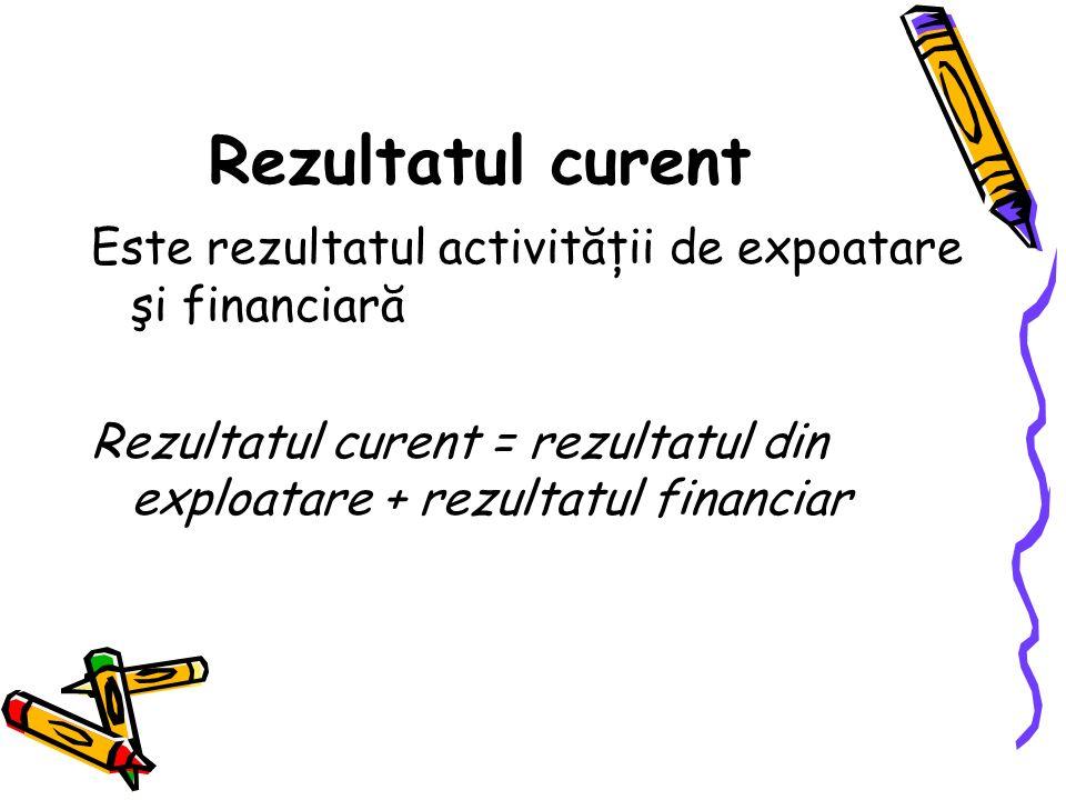Rezultatul curent Este rezultatul activităţii de expoatare şi financiară Rezultatul curent = rezultatul din exploatare + rezultatul financiar