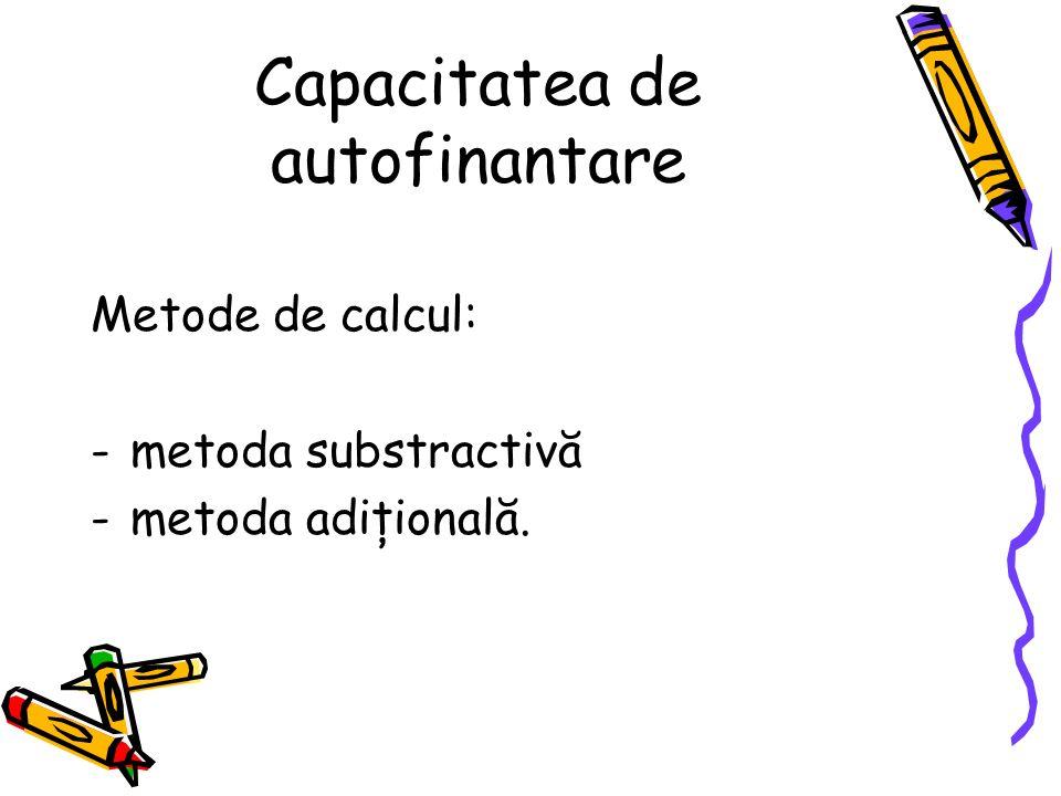 Capacitatea de autofinantare Metode de calcul: -metoda substractivă -metoda adiţională.