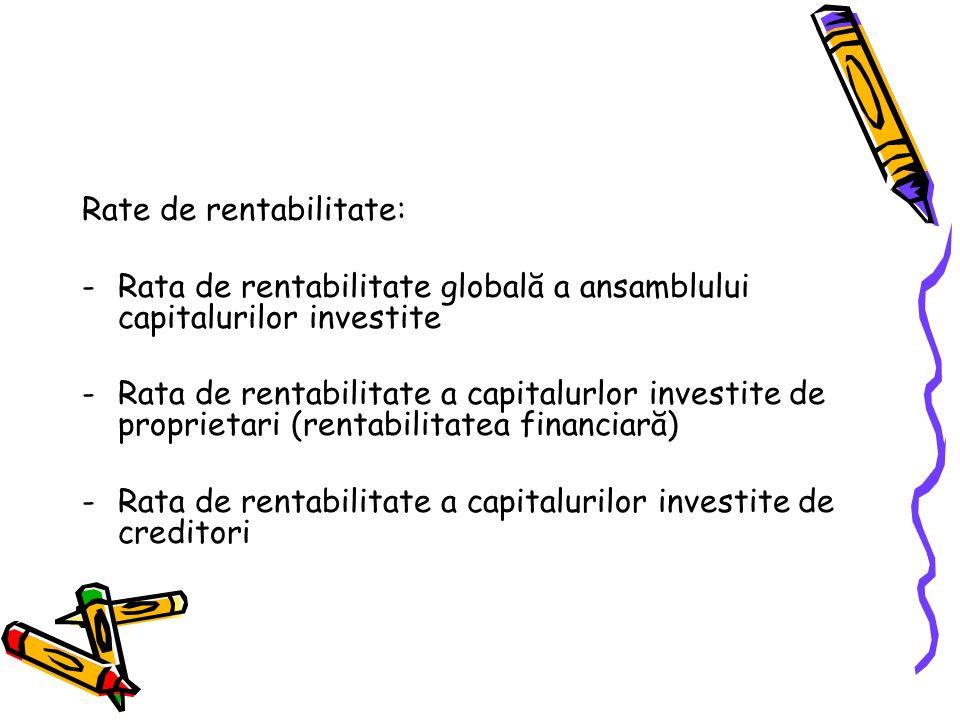 Rate de rentabilitate: -Rata de rentabilitate globală a ansamblului capitalurilor investite -Rata de rentabilitate a capitalurlor investite de proprietari (rentabilitatea financiară) -Rata de rentabilitate a capitalurilor investite de creditori