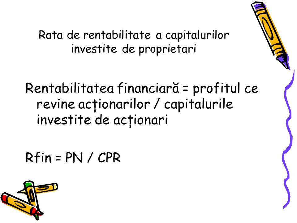 Rata de rentabilitate a capitalurilor investite de proprietari Rentabilitatea financiară = profitul ce revine acţionarilor / capitalurile investite de acţionari Rfin = PN / CPR