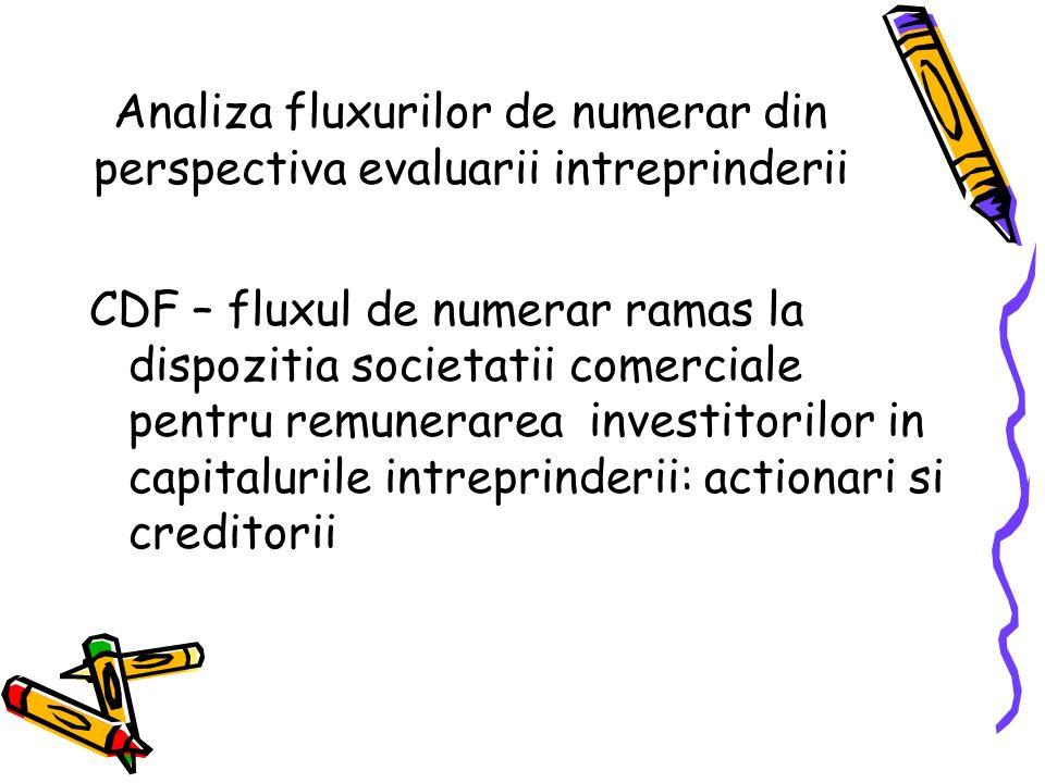 Analiza fluxurilor de numerar din perspectiva evaluarii intreprinderii CDF – fluxul de numerar ramas la dispozitia societatii comerciale pentru remunerarea investitorilor in capitalurile intreprinderii: actionari si creditorii