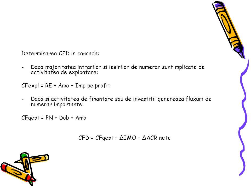 Determinarea CFD in cascada: -Daca majoritatea intrarilor si iesirilor de numerar sunt mplicate de activitatea de exploatare: CFexpl = RE + Amo – Imp pe profit -Daca si activitatea de finantare sau de investitii genereaza fluxuri de numerar importante: CFgest = PN + Dob + Amo CFD = CFgest – ΔIMO – ΔACR nete