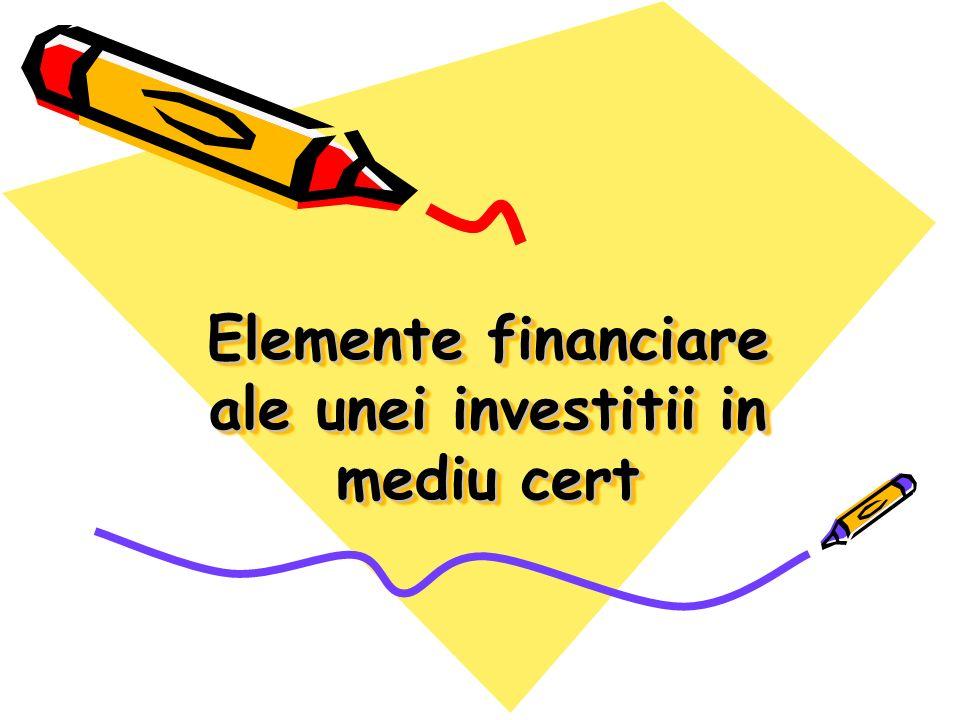 Elemente financiare ale unei investitii in mediu cert
