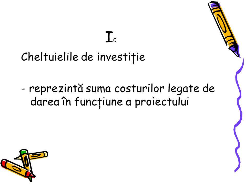 I0I0 Cheltuielile de investiţie - reprezintă suma costurilor legate de darea în funcţiune a proiectului