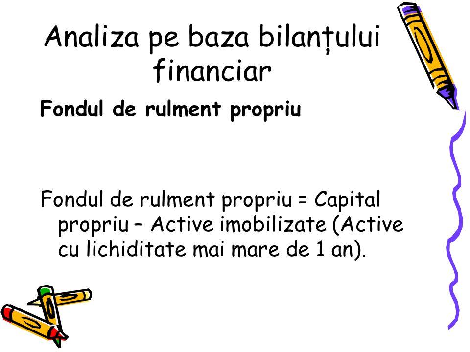 Necesarul de fond de rulment Necesarul de fond de rulment (NFR) = Active cu lichiditate mai mică de 1 an (mai puţin activele de trezorerie) – pasive cu exigibilitate mai mică de 1 an (mai puţin pasivele de trezorerie) = stocuri + creanţe + active de regularizare – datorii curente – pasive de regularizare Analiza pe baza bilanţului financiar
