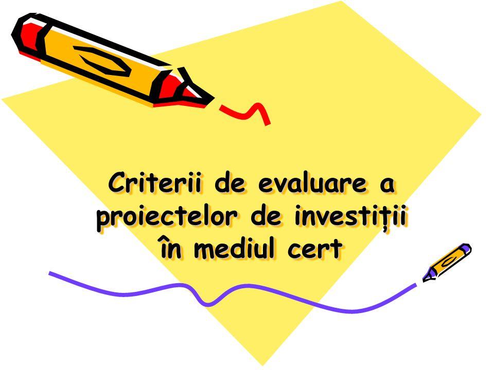 Criterii de evaluare a proiectelor de investiţii în mediul cert