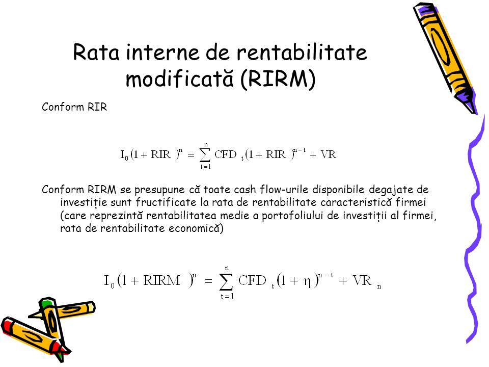Rata interne de rentabilitate modificată (RIRM) Conform RIR Conform RIRM se presupune că toate cash flow-urile disponibile degajate de investiţie sunt fructificate la rata de rentabilitate caracteristică firmei (care reprezintă rentabilitatea medie a portofoliului de investiţii al firmei, rata de rentabilitate economică)