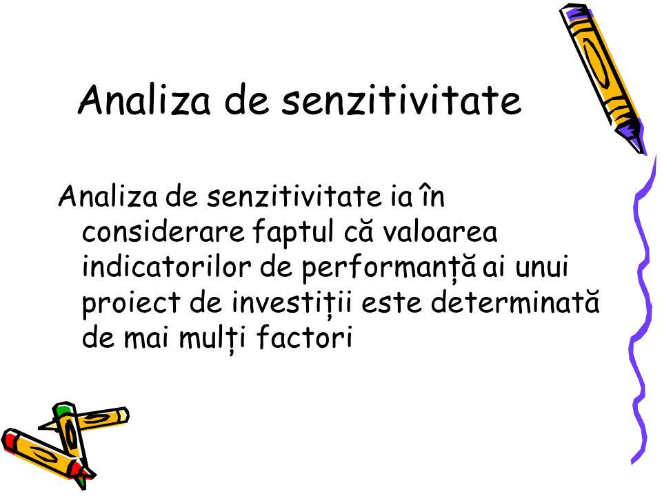 Analiza de senzitivitate Analiza de senzitivitate ia în considerare faptul că valoarea indicatorilor de performanţă ai unui proiect de investiţii este determinată de mai mulţi factori