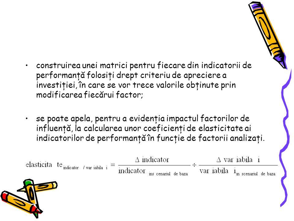 construirea unei matrici pentru fiecare din indicatorii de performanţă folosiţi drept criteriu de apreciere a investiţiei, în care se vor trece valorile obţinute prin modificarea fiecărui factor; se poate apela, pentru a evidenţia impactul factorilor de influenţă, la calcularea unor coeficienţi de elasticitate ai indicatorilor de performanţă în funcţie de factorii analizaţi.